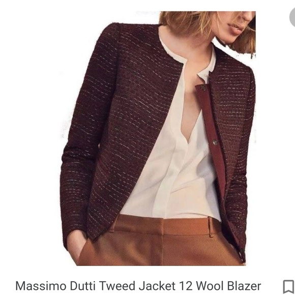 Massimo Dutti Womens Tweed Blazer Jacket Italian Fabric Long Sleeve Maroon New